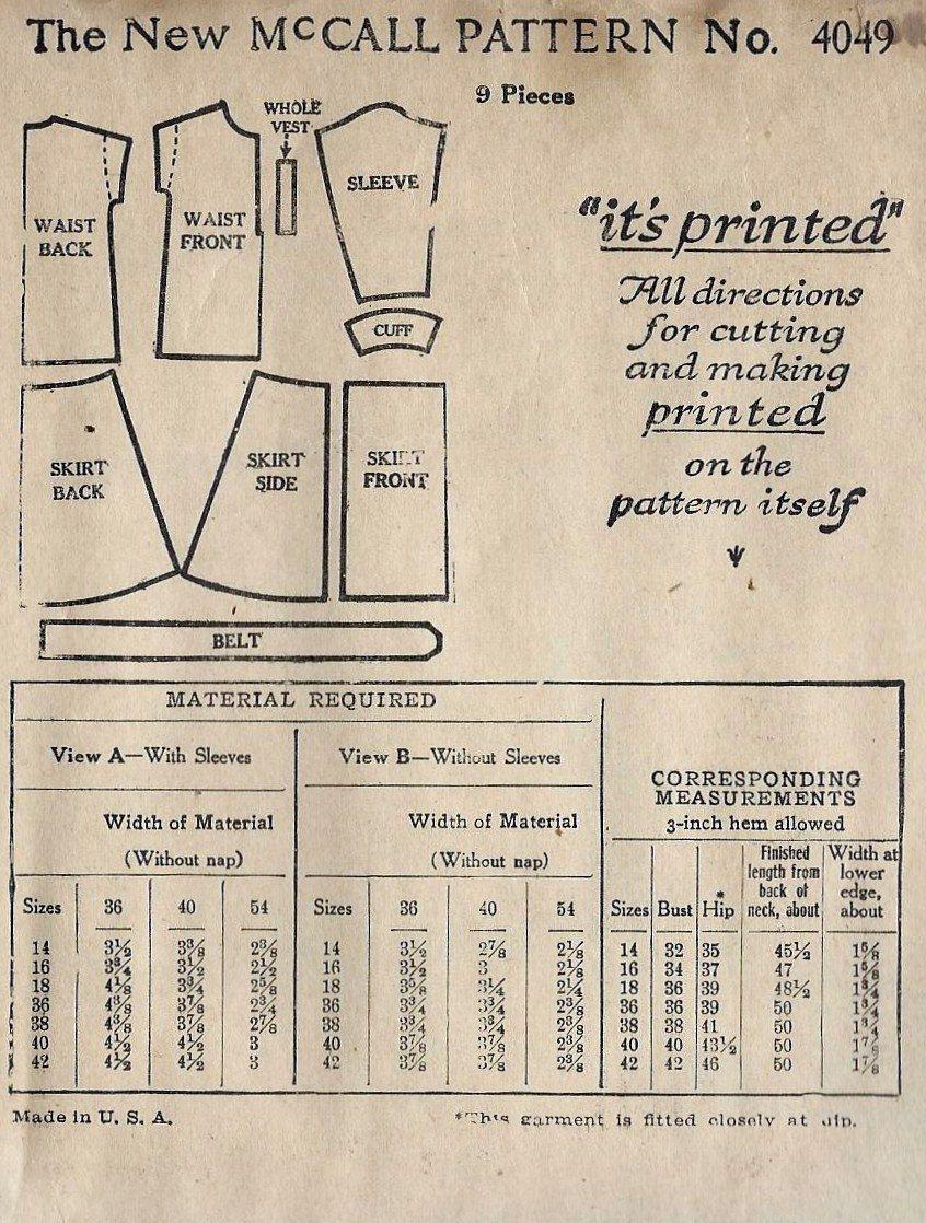 1920s Ladies or Misses Slip On Dress, Flapper Dress, Vintage Sewing ...