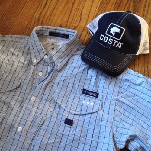 10401370f65 Sold --> Columbia PFG Mens M Plaid Bonehead Vented Fishing Shirt + Costa  Trucker Hat