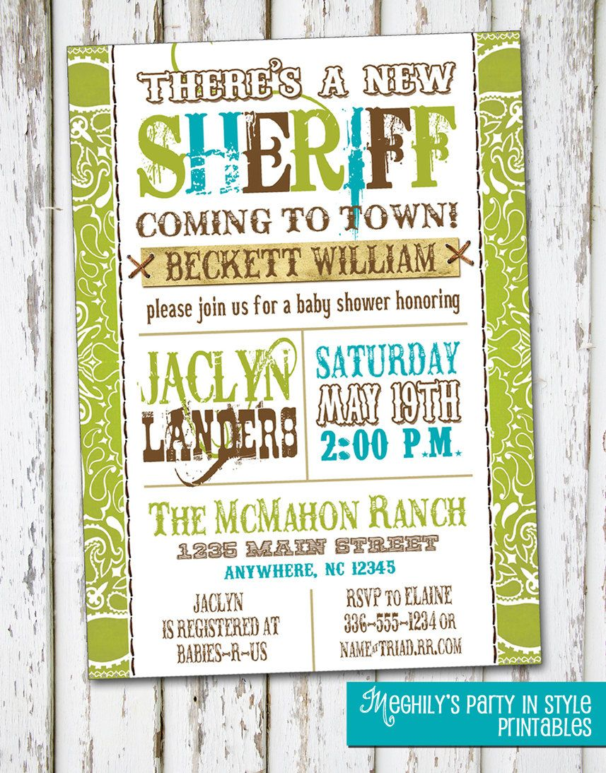 New Sheriff Coming to Town - Baby Shower Invitation. $8.00, via Etsy ...