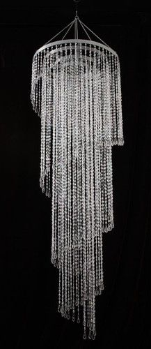 Large 12 Foot Long Beaded Spiral Chandelier Clear Beads
