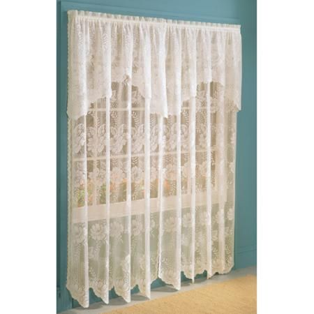 Shabby Chic Anna Lace Curtain Panel With Attached Valance