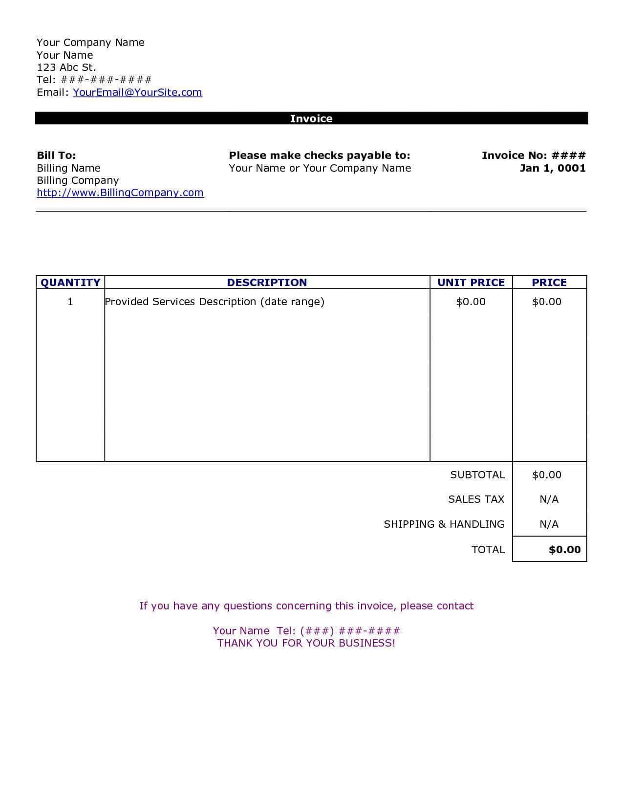 Sample Of Billing Invoice Invoice Template Word Invoice Template Bill Template