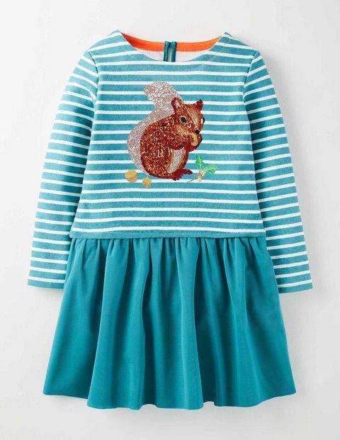Mini Boden Sequin Logo Dress Style Fashion Children 5