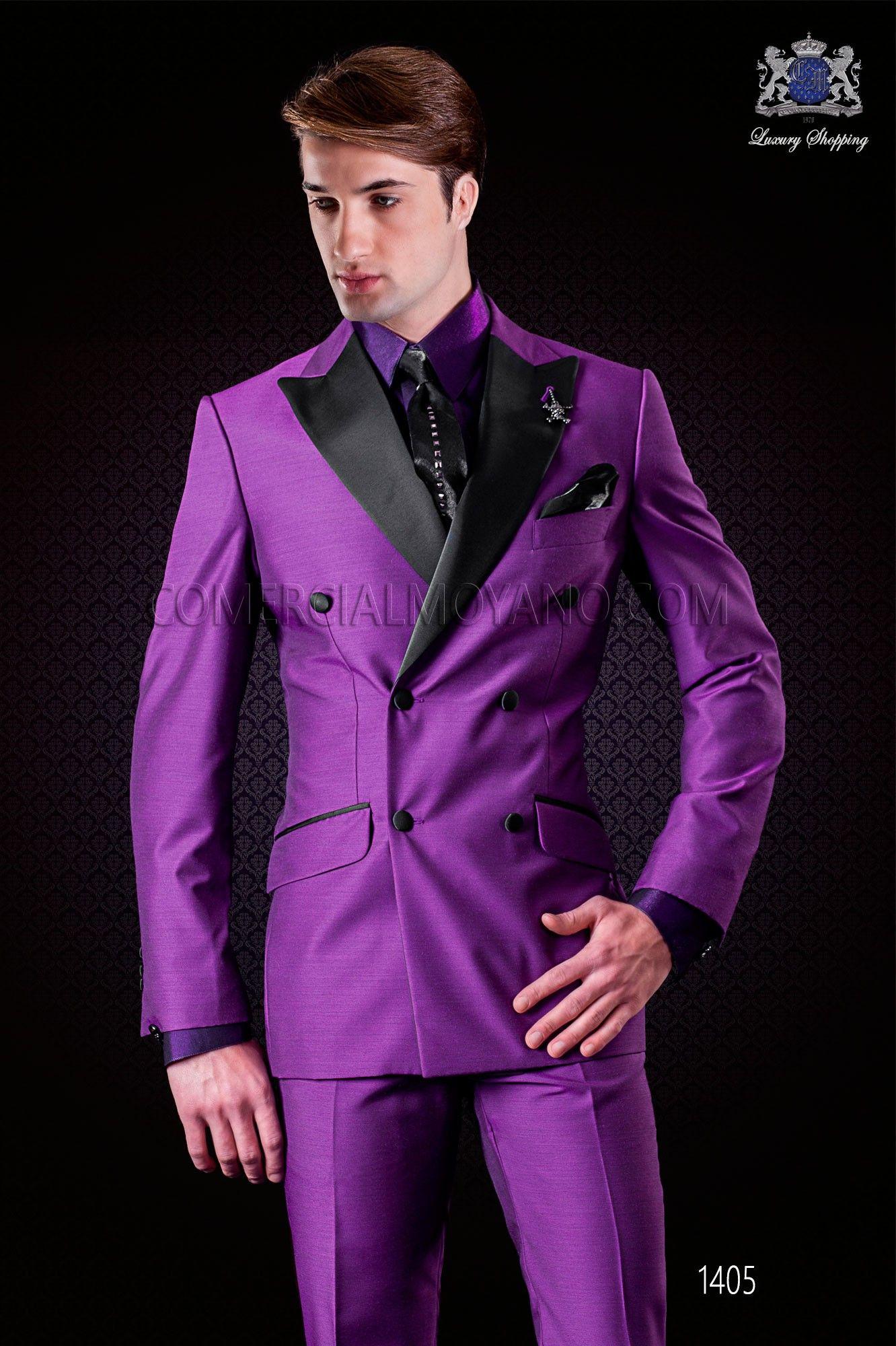 Traje de novio cruzado púrpura de moda italiano Ottavio Nuccio Gala ...