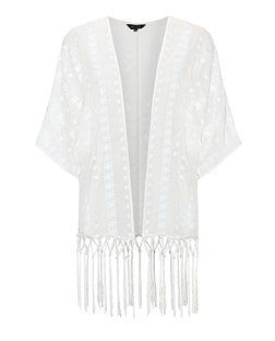 bf0372c59ae27 Cream Daisy Embroidered Tassel Hem Kimono | New Look | W i s h L ...