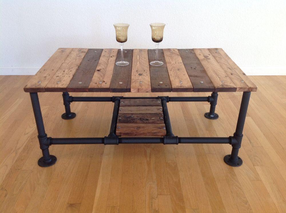 pallet coffee table pallet pinterest meubles tuyau plomberie et meuble acier. Black Bedroom Furniture Sets. Home Design Ideas