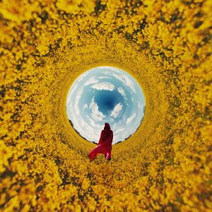 Rekha Garton WOMAN IN RED CLOAK IN SURREAL FIELD