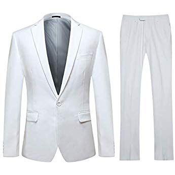 294283d258e7 YOUTHUP Costume Homme Formel Slim Fit Deux Pièces avec Un Bouton d affaires  Mariage Veste