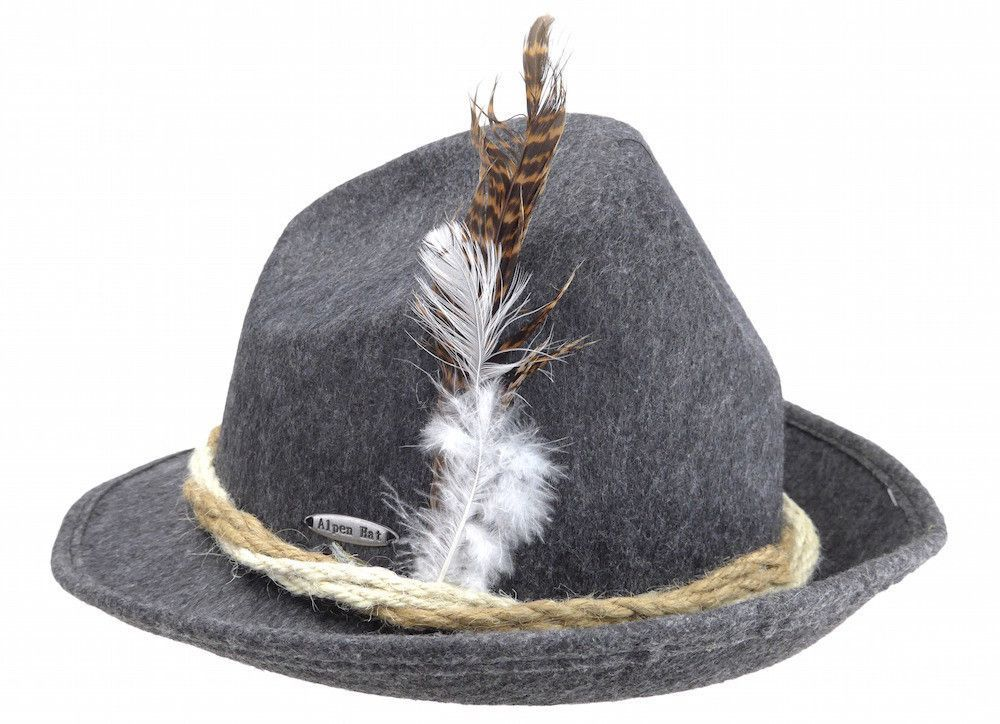 78443723136 Fedora style deep gray felt German hat that can be worn any time of year  and especially at Oktoberfest. - Approximate Exterior Dimensions (Length x  Width x ...