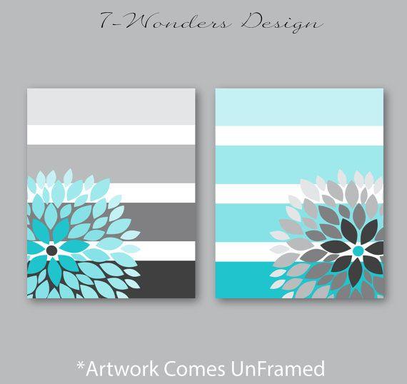 Floral Bursts Big Stripes Art Prints, Ombre Style Modern Home Decor Set of (2) 8 x 10 OR 11 x 14 sizes // Turquoise Grey Art Unframed #leinwandselbergestalten