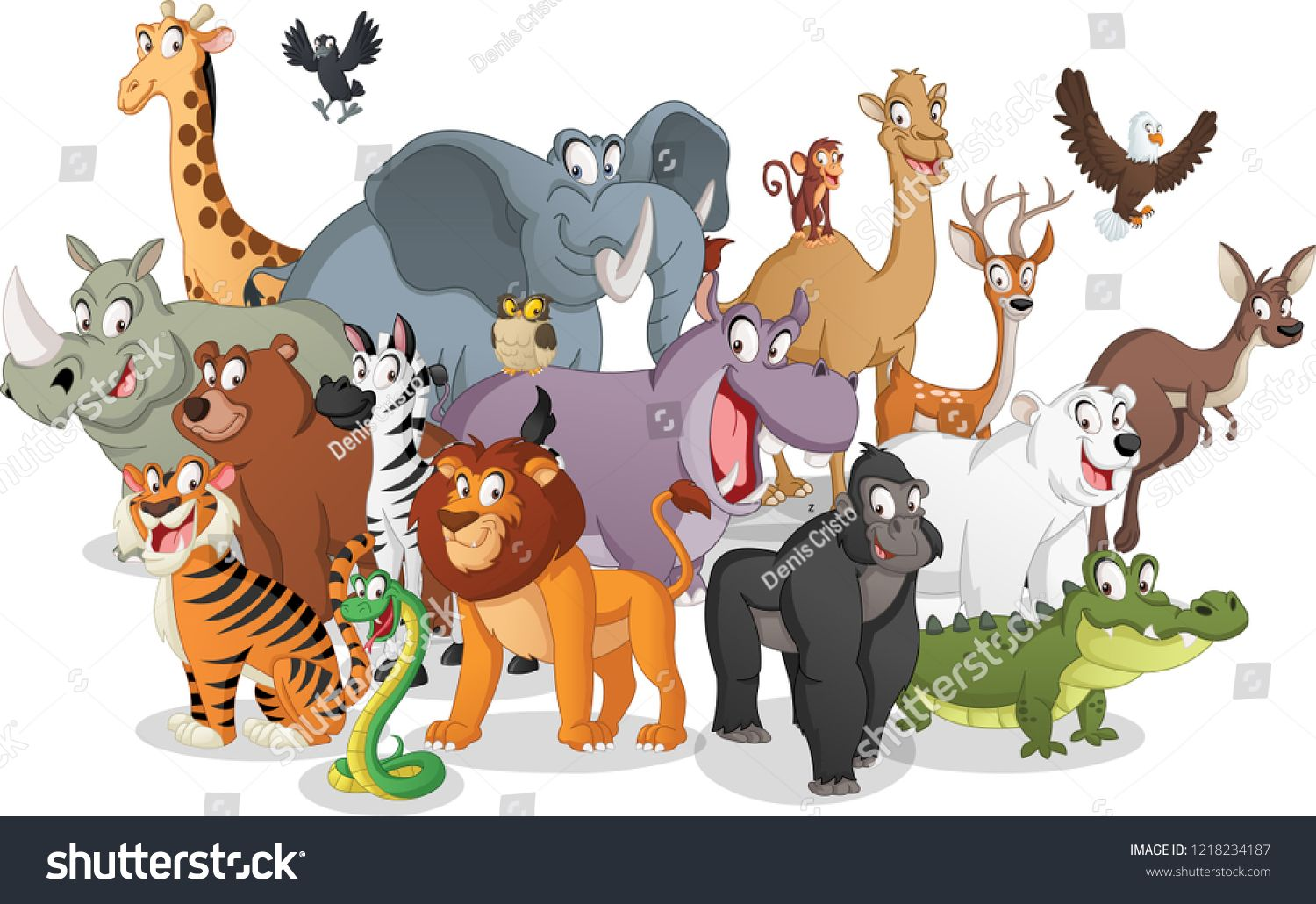 30047d8544a2b Group of cartoon animals. Vector illustration of funny happy animals ...