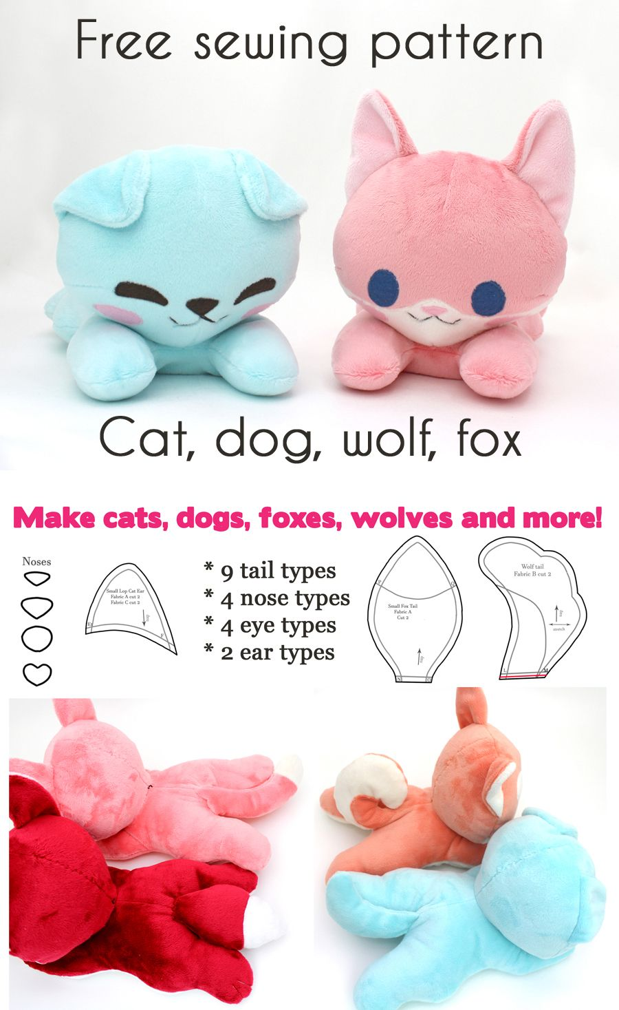 Free kawaii sewing patterns to make your own stuffed animals ~ dog ...