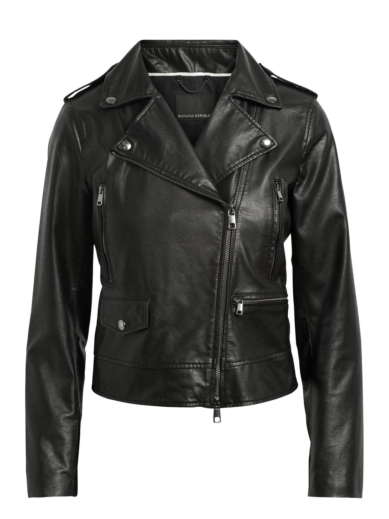 Vegan Leather Moto Jacket Banana Republic (With images