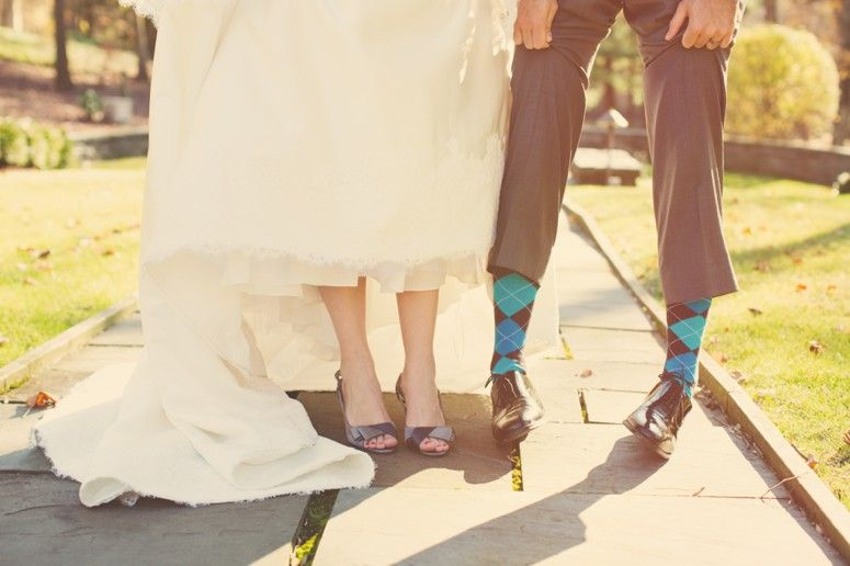 Orange and teal wedding, argyle socks groom, grey suit groom.    Erica & Tom \ Colorful Villanova Wedding  #laurenfairphotography