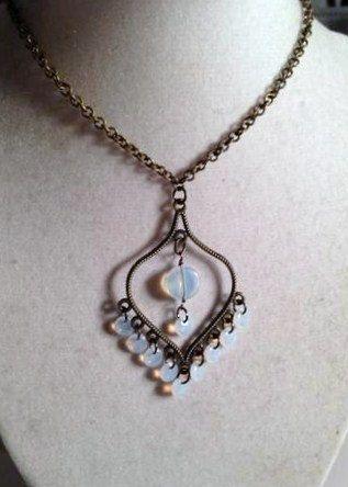 Brass Necklace Opalite Necklace Wedding Necklace Pendant by cdjali, $18.00