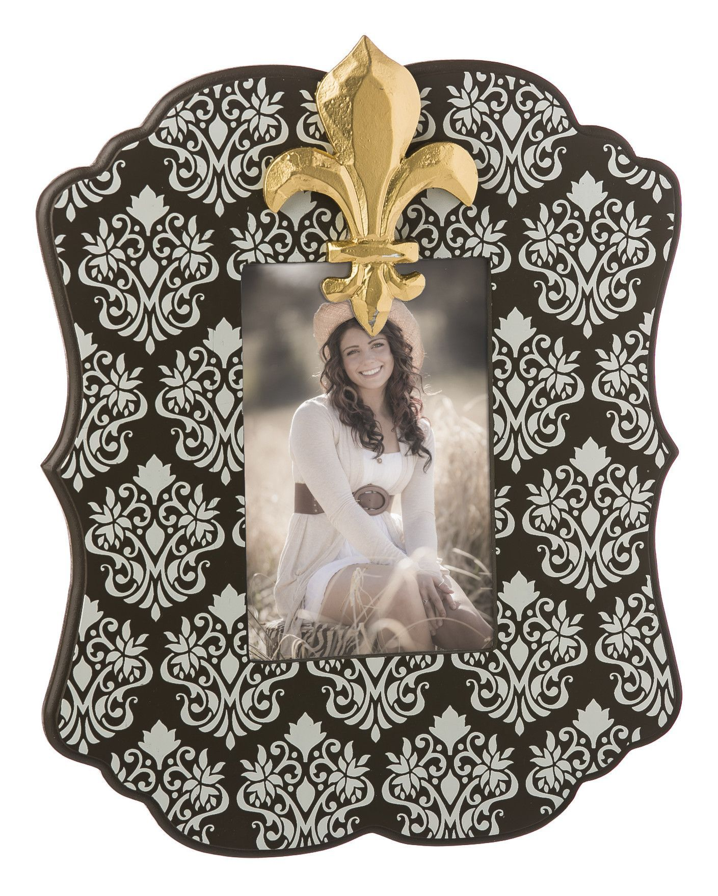 Holds Damask Wooden Picture Frame