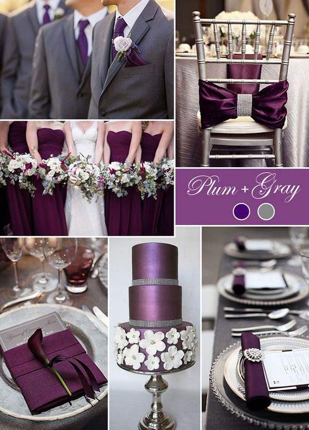 Plum Purple And Grey Elegant Wedding Color Ideas 65