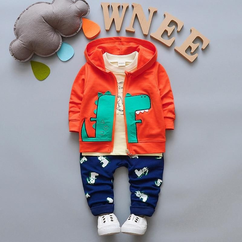 5e3d32508 BOTEZAI Children Boy Clothes 3PCS Tracksuit for Boys Sport Tops Hooded Coat  Pants Cartoon Dinosaur Baby Suit Baby Clothing Set