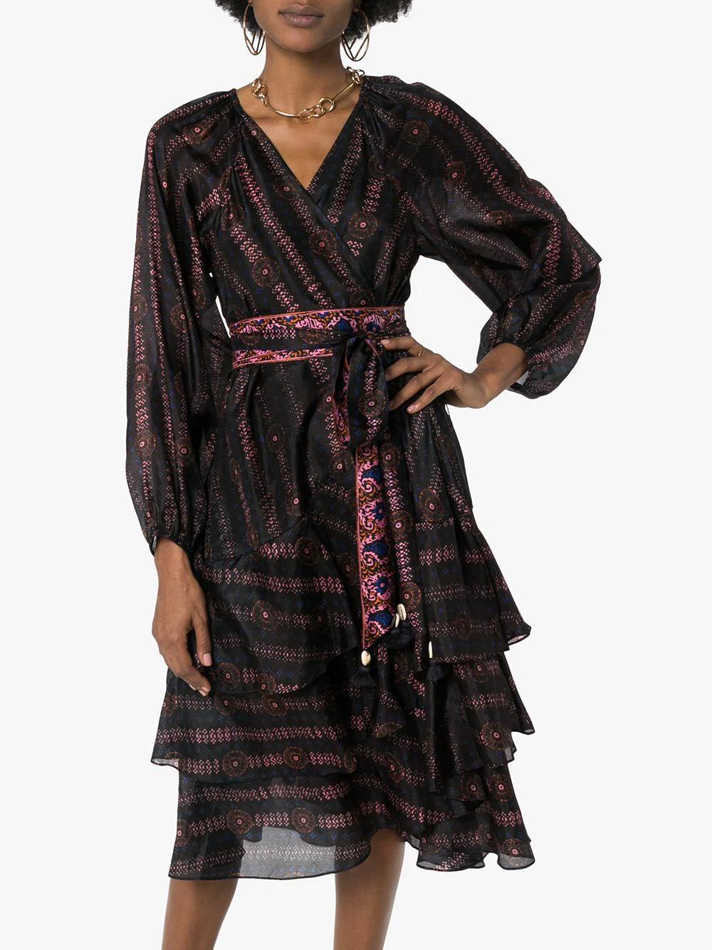 Figue Kira Printed V Neck Dress Farfetch Dresses V Neck Dress Long Sleeve Dress [ 1334 x 1000 Pixel ]