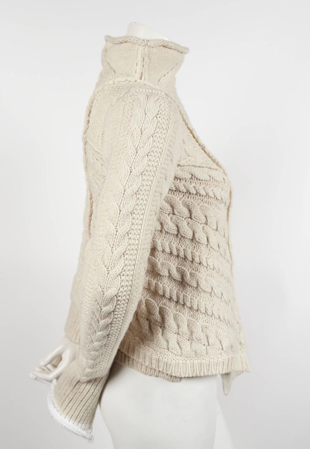 ebd09696d8f4a4 rare CELINE by PHOEBE PHILO wool cable knit sweater with asymmetrical hem |  From a collection