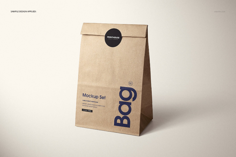 Download Lunch Kraft Paper Bag Mockup Set On Behance Paper Bag Design Bag Mockup Coffee Bag Design