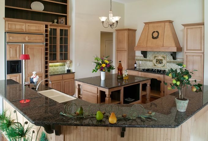 This Cottage Kitchen Is Great For Cooking Or Entertaining. Dark Green  Countertops, Green Interior