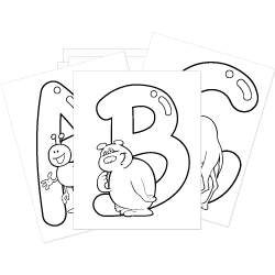 FREE Coloring Pages with Letters and Cartoon Style Animals