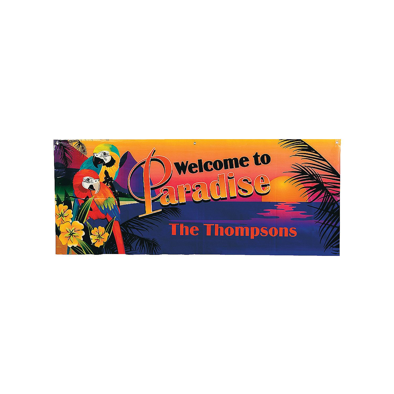 """Personalized Luau Parrot Banner - Small. Amidst the beauty of a tropical sunset, our pair of tropical luau parrots offer your guests a warm greeting. Customize this banner with your own unique message, name or date! 50"""" x 20"""" Personalize for free!- Quality vinyl banner with adhesive tabs for hanging - Printed in orange lettering  - Personalize with 1 line of textPersonalized Example:- Welcome to - Paradise - Line 1 - 18 characters (example: The Thompsons) Banner printed on 10 oz. white…"""
