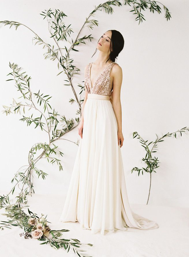 c3d4e43eb78c7 Rose gold glittering Eden sequin wedding dress with v neck front and tulle  skirt. Truvelle Wedding Dress by Blush Wedding Photography