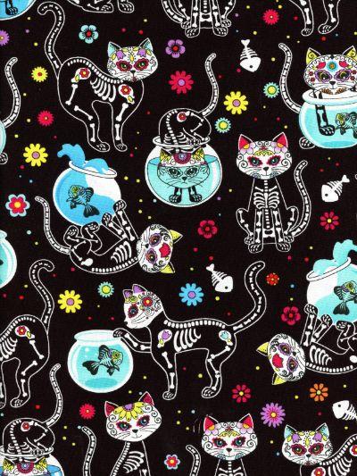 Timeless Treasures Fabric Box Cats Grey HALF METRE