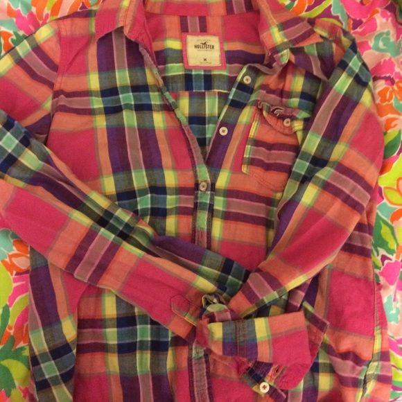 Plaid button down Super cute bright colored plaid shirt!!! No missing buttons holes or stains!! Hollister Tops Button Down Shirts