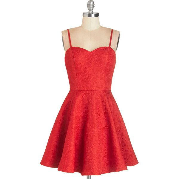 Short Length Spaghetti Straps Fit & Flare The Heart Glows Fonder Dress... (120 BRL) ❤ liked on Polyvore featuring dresses, vestidos, short dresses, robes, red, apparel, evening cocktail dresses, red mini dress, red cocktail dress and fit and flare cocktail dress