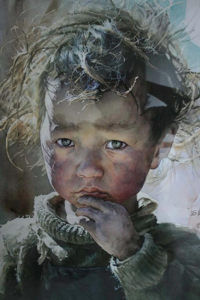 홍단 On Realism Art Portrait Art Watercolor Paintings