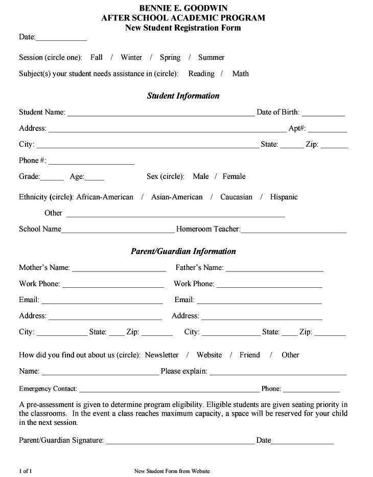 Registration Form Templates - Word Excel Fomats | Student ...