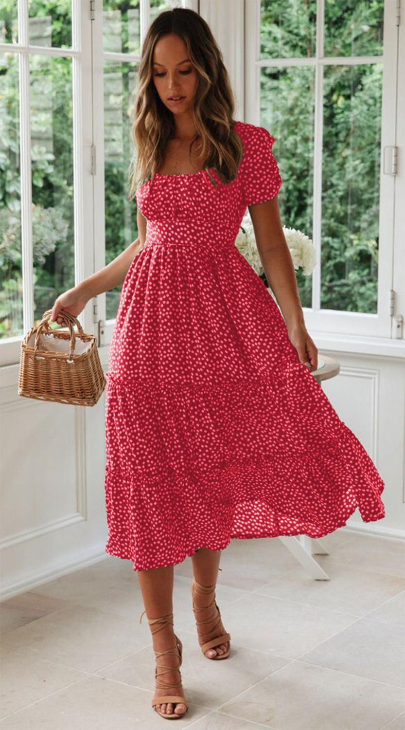 Vintage Print Puff Sleeve Summer Beach Sweet Dresses Casual Square Collar Floral Maxi Long Dress Festa Sweet Dresses Casual Long Dress Casual Summer Long Dress Casual [ 1500 x 833 Pixel ]