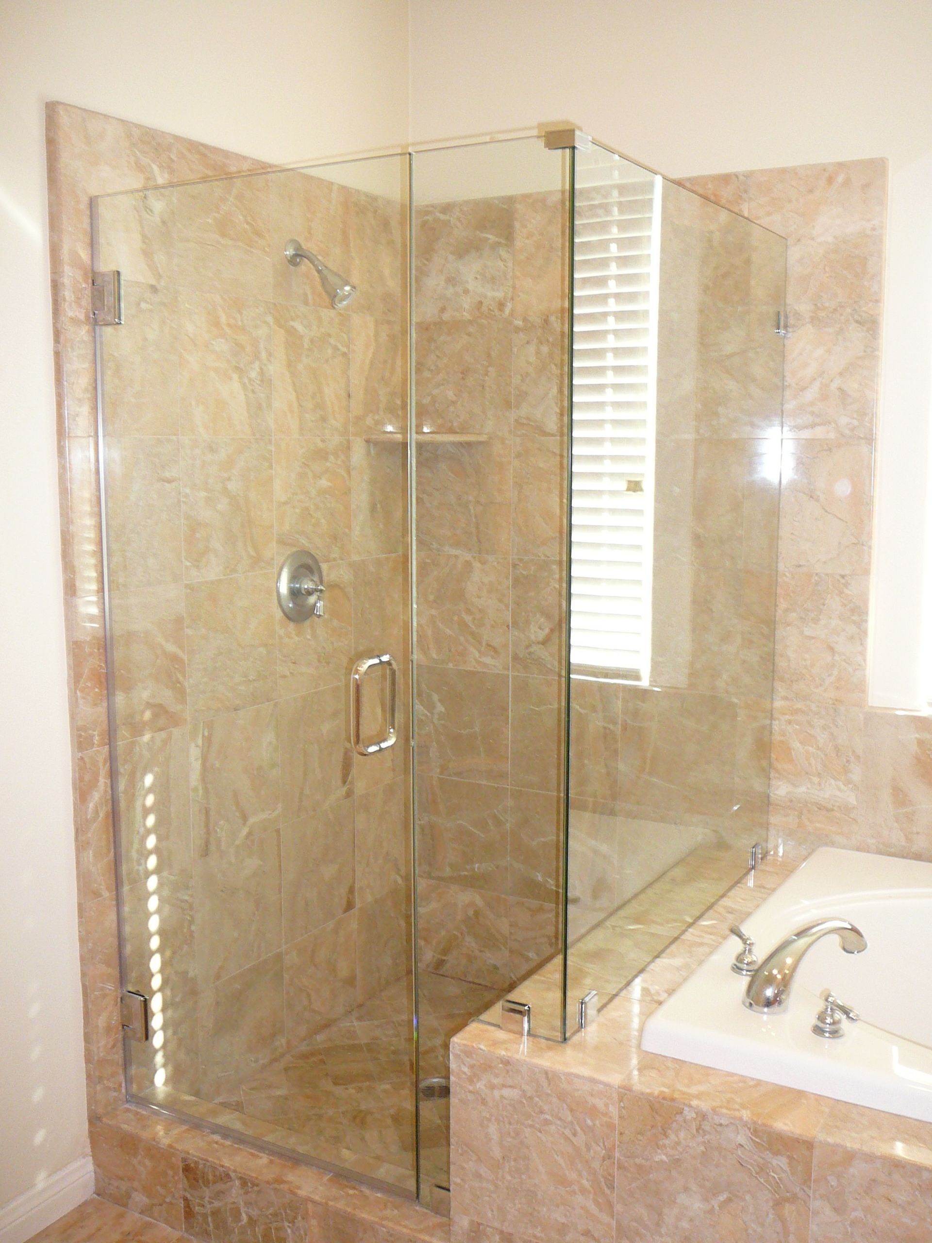 Custom Frameless 90 Shower Enclosure With A Notch Panel Shower Enclosure Frameless Shower Enclosures Farmhouse Shower