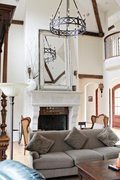 Mediterranean Living Room Fireplace Mantel Design Ideas Pictures Remodel And Decor