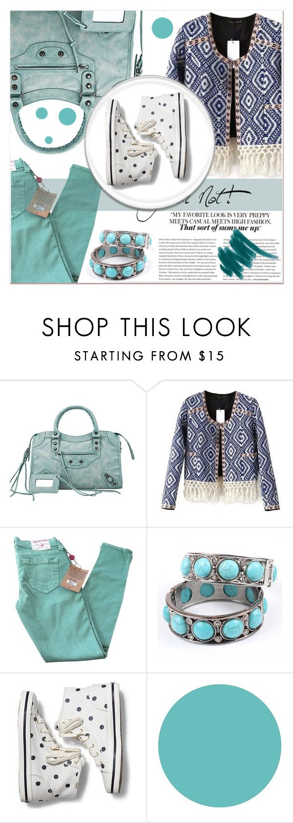 """""""Mint Mood"""" by black-fashion83 ❤ liked on Polyvore featuring True Religion, Keds, MANGO, WallPops, women's clothing, women, female, woman, misses and juniors"""