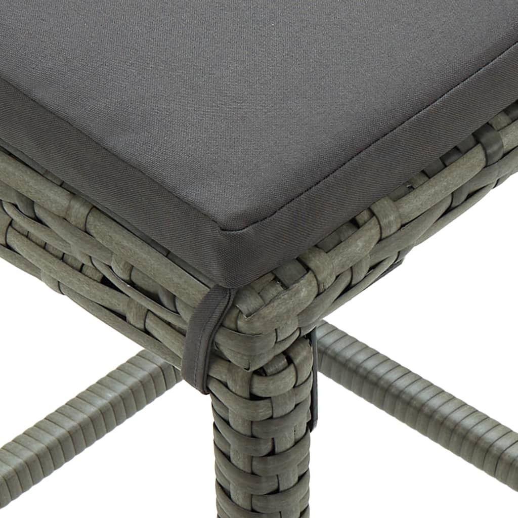 3 Piece Garden Bar Set with Cushions Poly Rattan Gray
