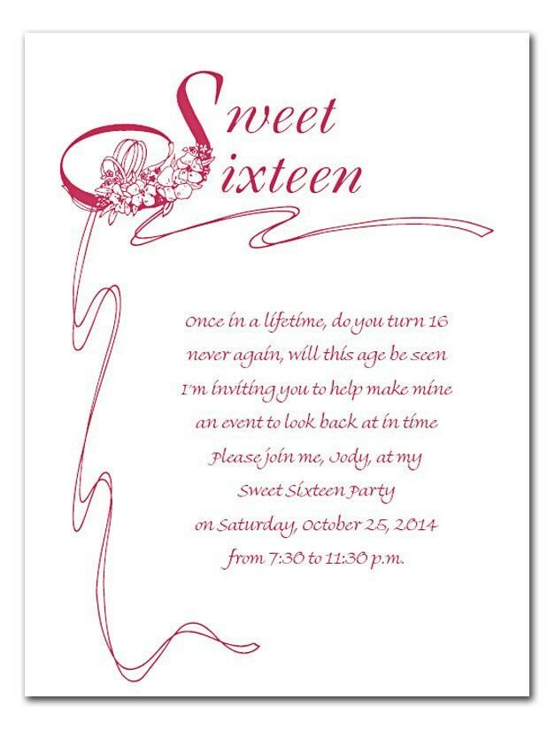 Sweet 16 Invite Wording Cheyenne S Sweet 16 Sweet Sixteen Quotes