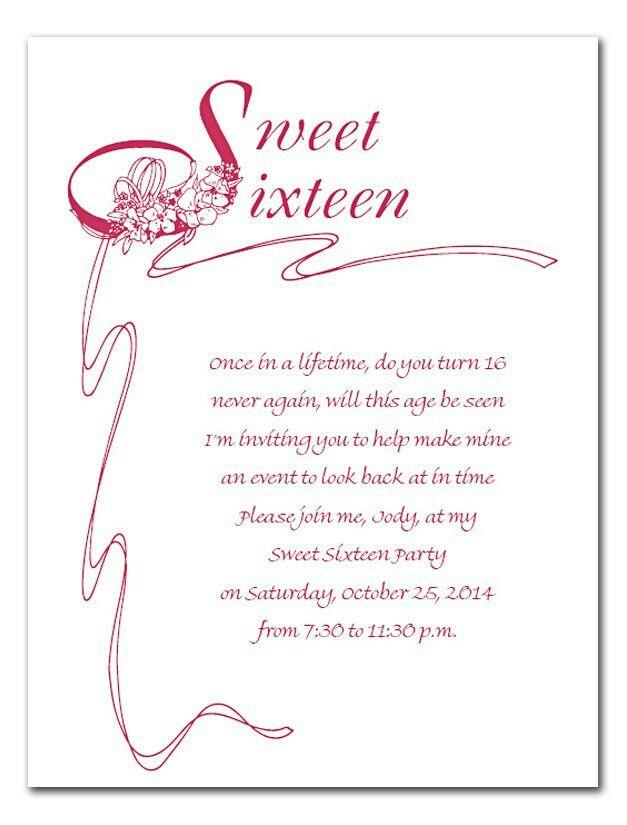 Sweet 16 invite wording | Cheyenne\'s sweet 16 | Pinterest | Sweet 16