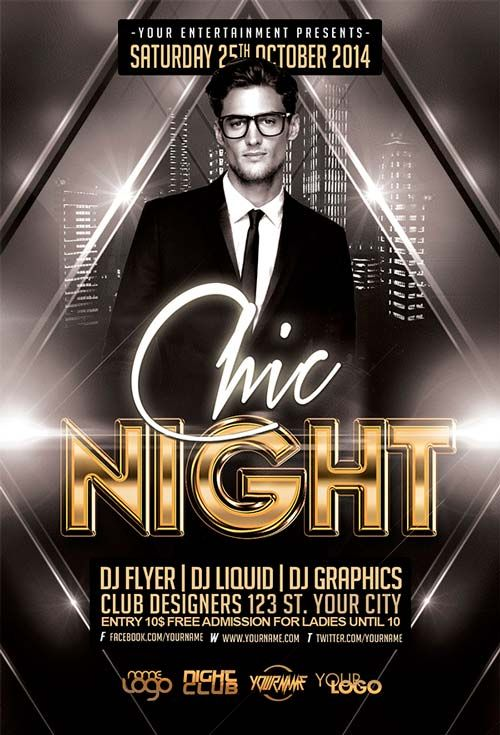 Free Chic Night Free Flyer Template  Design    Free