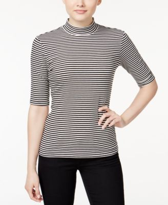 Ultra Flirt Juniors' Rib-Knit Mock-Neck Top