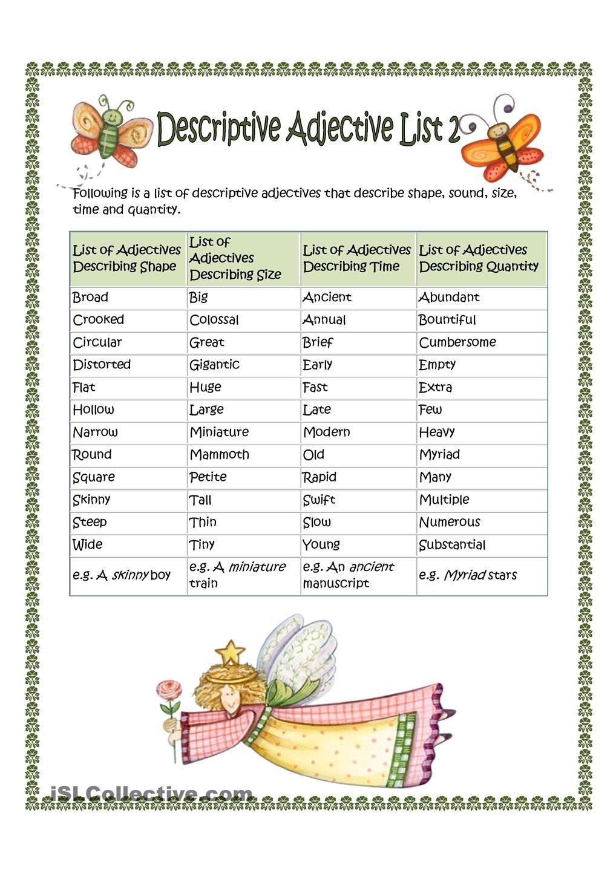 medium resolution of Descriptive Adjective List 2   List of adjectives
