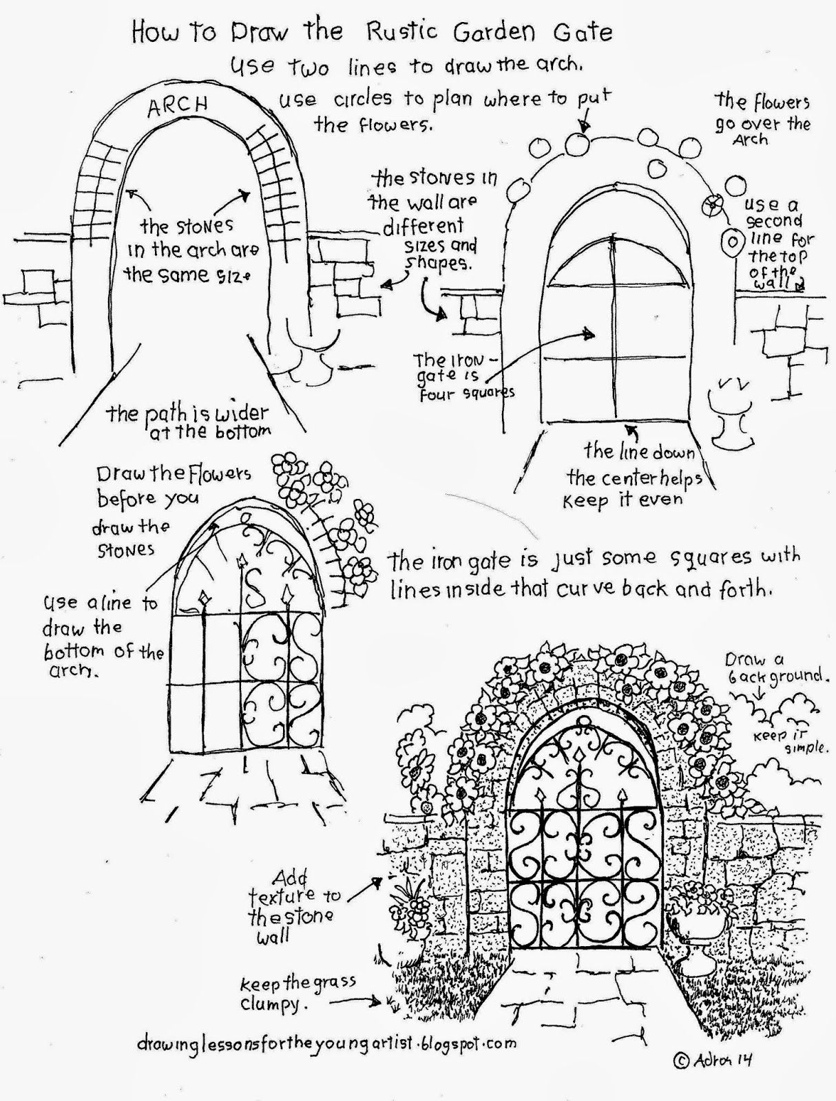 Garden drawing pictures - How To Draw The Rustic Garden Gate With A Stone Arch How To Draw Worksheets