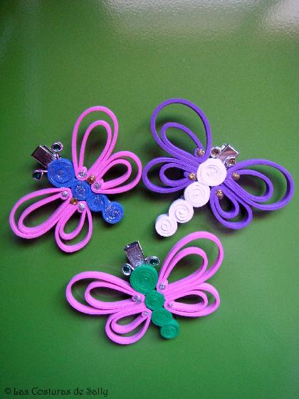 Hevillas para el pelo con mariposas realizadas en goma eva y con las ...