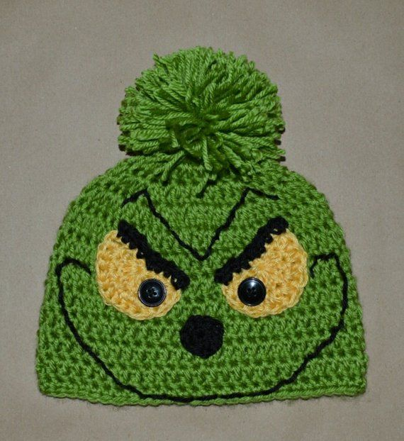 Grinch Christmas Beanie Hat Handmade Crochet Baby Beanie Hat Photo Prop  Custom Made Christmas X-Mas 67d4a54b8c3