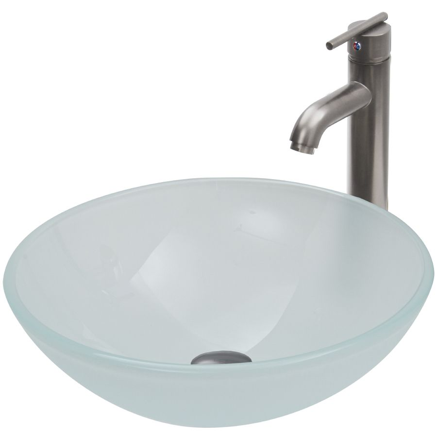 Pics Of VIGO White Frost and Brush Nickel Glass Vessel Bathroom Sink with Faucet Drain Included