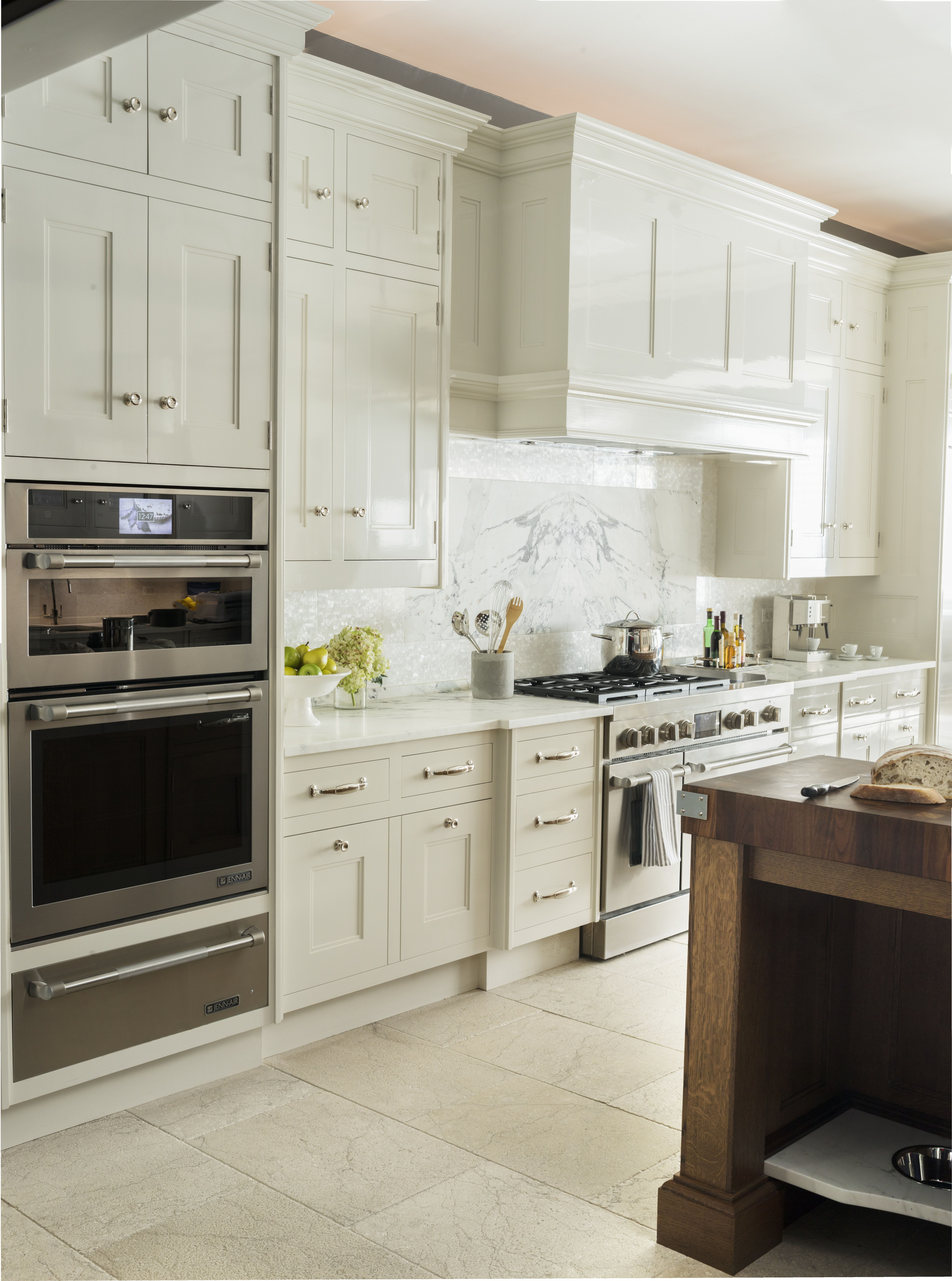 Transitional Kitchen Cabinets Polished Nickel Hardware High