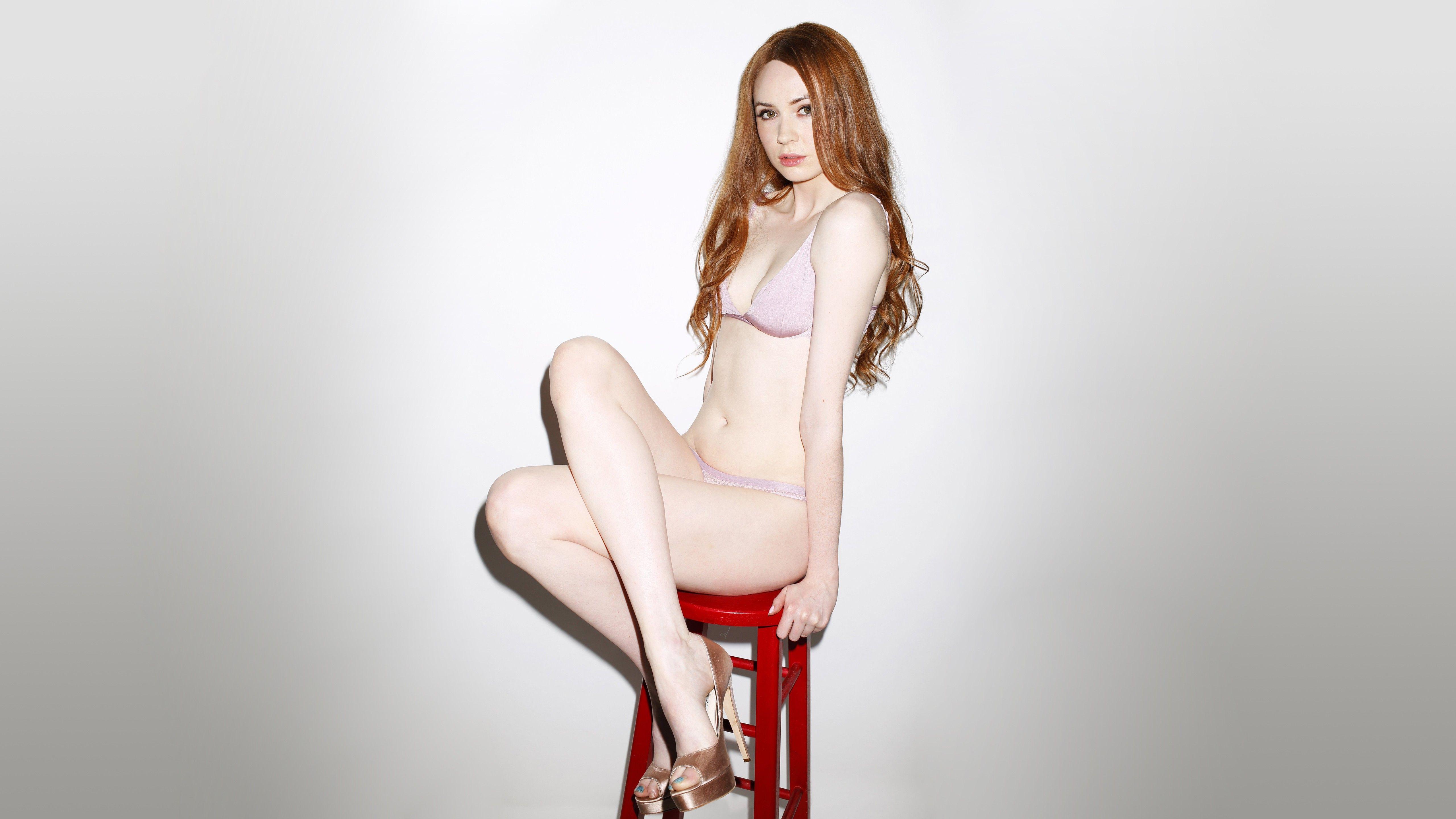 Redhead high heels